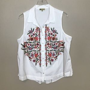 Democracy Floral Embroidery Button Top
